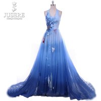 Jusere Flowing A line Fresh Look Backless Court Train Embroidery Tree 3D Flower Color Mixing Blue Halter Evening Dress 2018