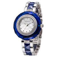 メリッサ女性レディース腕時計日本クォーツ時間シェルファッションセラミックブレスレットクリスタル高級ラインストーン女の子の誕生日プレゼント