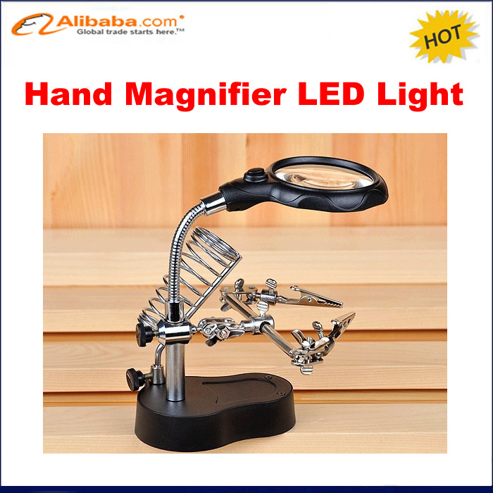 3.5X 12X Helping Hand portable LED Magnifier with Light,  Soldering Stand MG16126-A for solder work magnifying glass 220v 10x desk clip on led illuminated green optical big magnifying glass led lamp folding stand large magnifier with led lights