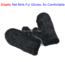 LIYAFUR New Women's Real Genuine Mink Fur Elastic Net Knitted Winter Gloves Mittens