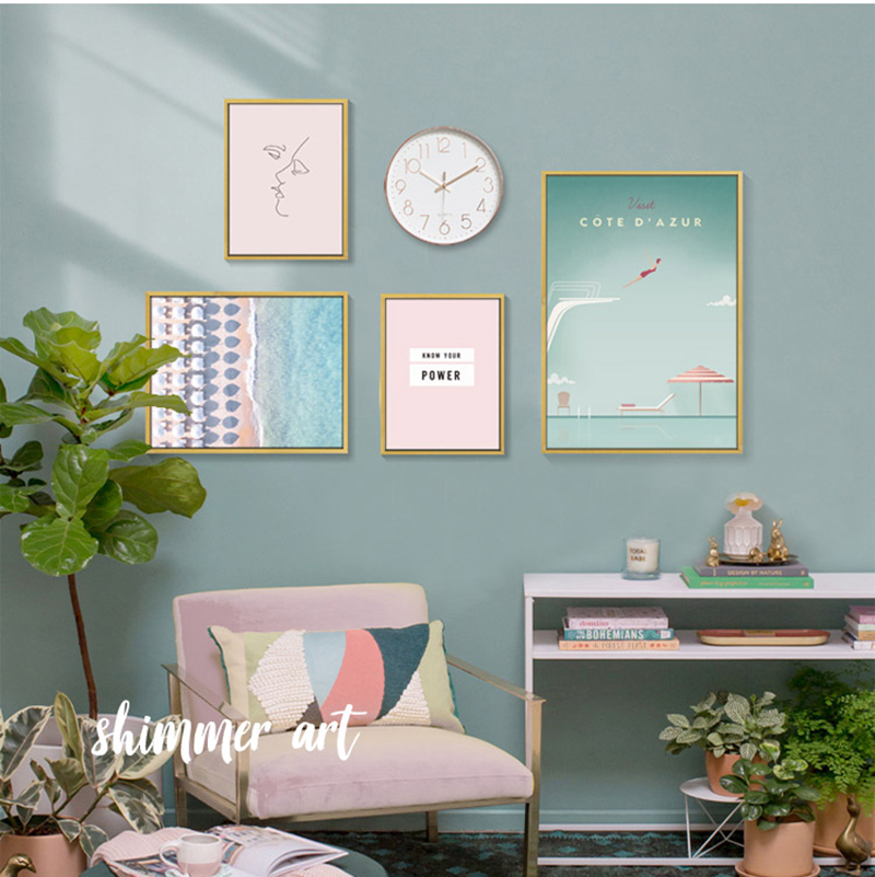 Blue Seaside Pink Scenery Wall Art Canvas Painting Modern Nordic Poster Quotes Pictures For Living Room Home Decor Unframed