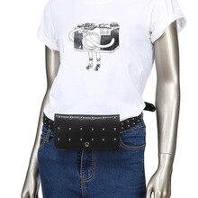 Новая мода повседневная заклепки женщин талии мешок двойной-использовать мягкий PU кожаный ремень мешок Леди корейский стиль женский небольшой пакет