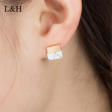 L&H New Square Triangle Round Geometric Marbled White Natural Stone Resin Stud Earrings For Women 2018 Christmas Fashion Jewelry
