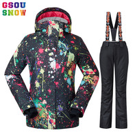 GSOU SNOW Waterproof Ski Suit Women Ski Jacket Pants Female Winter Outdoor Skiing Snow Snowboard Jacket Pants Snowboard Sets