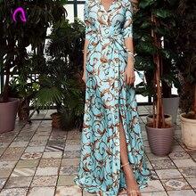 Floor Length Blue Paisley Print Elegant Women Dress Summer Vintage Sheer Deep V Neck Maxi Dress 2019 Fall Split Long Dress Festa