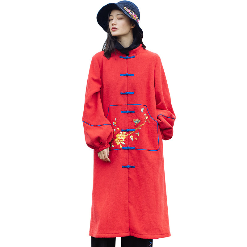 National Femmes Nouveau Rouge Chinois Velours Coupe Chaud Hiver Section Longue Bouton Plaque Brodé De Veste vent Style Plus gHRnqxE
