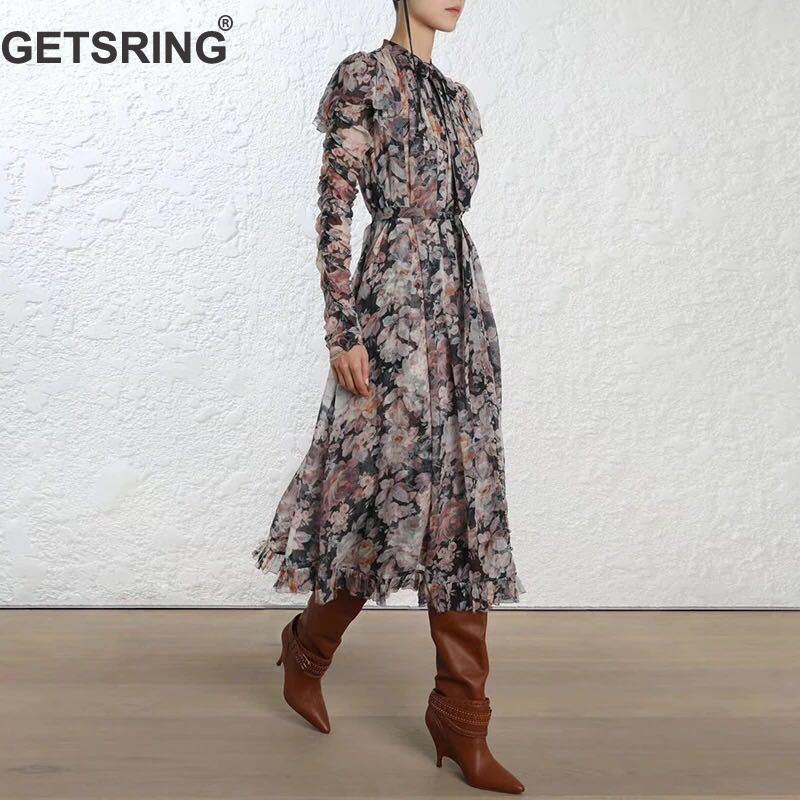 Avec Sling Femmes Impression Robe Rétro Robes Haute Black Longue Manches Lacent Longues Getsring Vintage À Arc Ruches Taille Cravate white Tnxa1R4