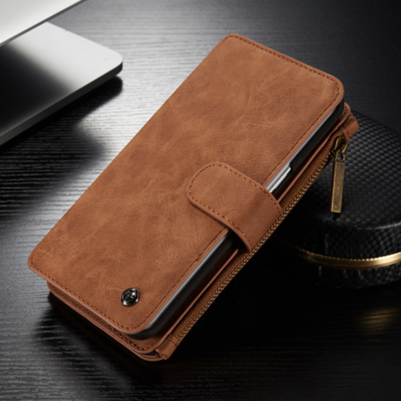 new concept 99fce 5ecb3 US $14.19 29% OFF|CaseMe Brand Cover Luxury Vintage Leather Wallet Case for  Samsung Galaxy S6 Edge Plus Mobile Phone Zipper Bag with Card Holders-in ...