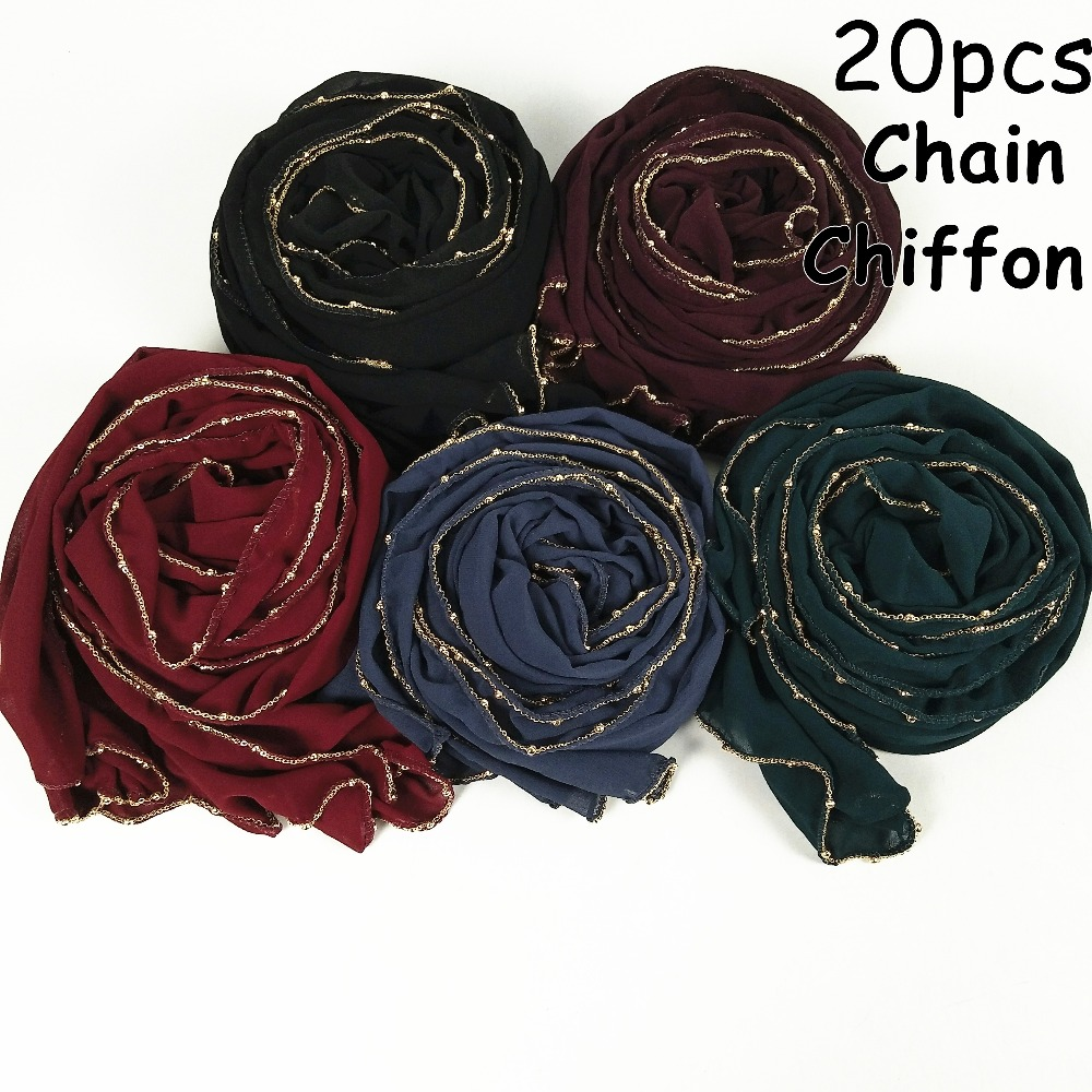 M24 High quality gold chain big size chiffon hijab scarf women shawl lady wrap headband 180