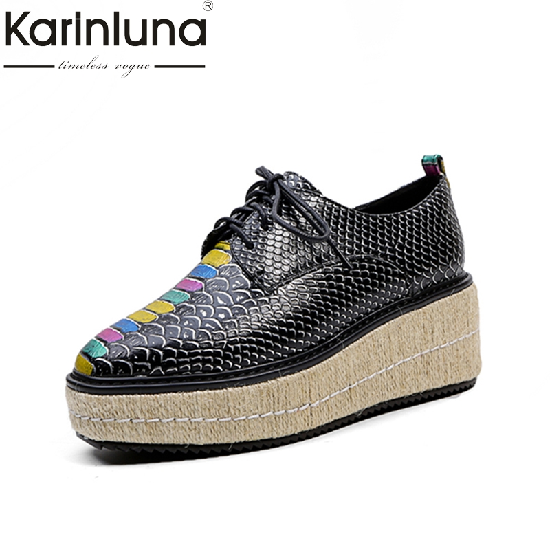 KARINLUNA new large Size 34-43 Platform black white lace up Women Shoes Fashion round toe fashion Shoes woman casual shoe купить