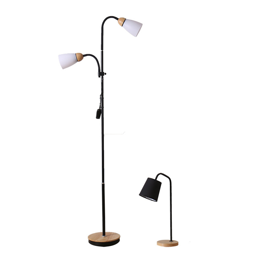 Modern Light Wood Led Loft Iron Floor Lamp Bedroom Living Room Study Customer Service Lighting Decorative Floor Lamps Luminaria creative foot switch fishing floor lamps modern lighting marble atmosphere lights living room study home decorative floor lamp