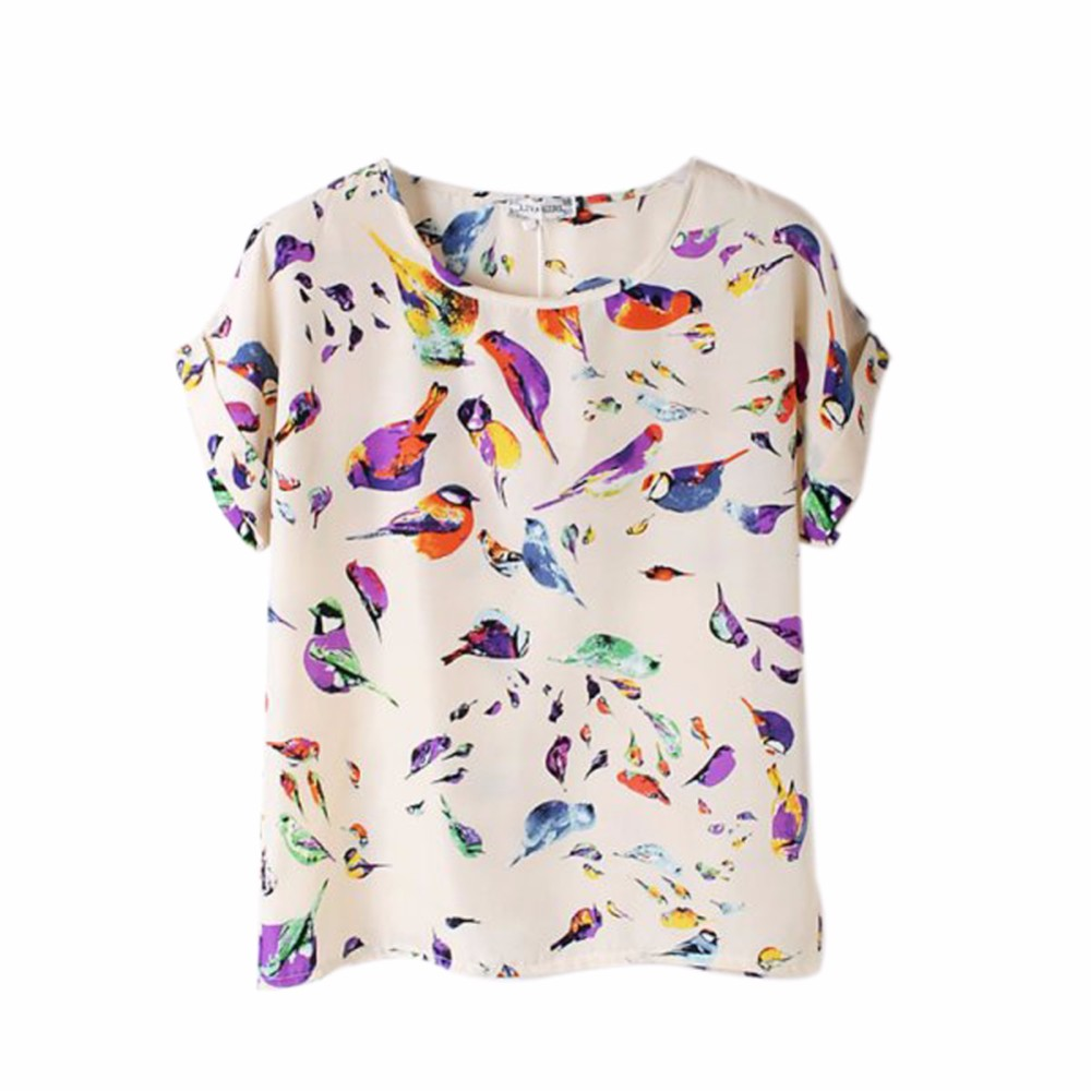 Women O Neck Bird Printed Tops Colorful Short Sleeve Female T-Shirts Batwing Loose Chiffon Shirt Feminino Summer