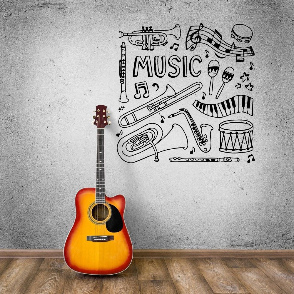 MUSIC Vinyl Wall Decal Musical Instruments Drum Music Sheet Mural Art Wall  Sticker Music Room Bedroom Removeable Home Decoration In Wall Stickers From  Home ...