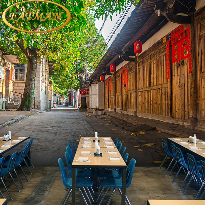 Custom photo wallpaper City street construction wallpaper Cafe lounge theme hotel sofa restaurant wallpaper mural custom mural 3d korean cuisine wallpaper leisure bar restaurant theme hotel snack shop background beverage food wallpaper mural