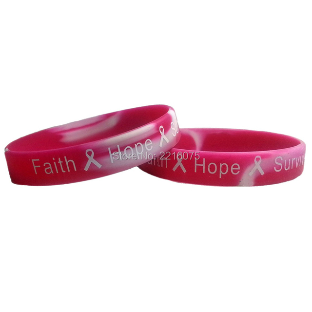 300pcs Pink Camo T Cancer Awareness Silicone Wristband Rubber Bracelets Free Shipping By Dhl Express