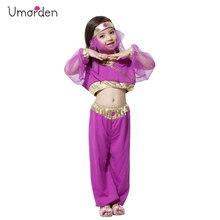 Umorden Purple Arabian Princess Costumes for Girls Kids Child Belly Dance Dress Carnival Halloween Party Fantasy Cosplay