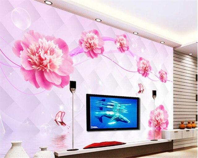 beibehang Beautiful wallpaper water flower reflection living room 3D ...