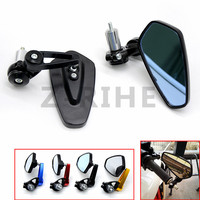 For One Pair Of Motorcycle End Bar Rearview Mirror 7 8 Handle Bar 360 Degree Swivel