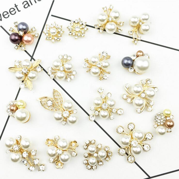 18 unids / lote Mezcla 18 estilos base de oro rhinestone flor de la - Artes, artesanía y costura