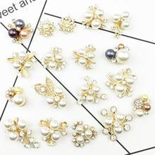 18st / lot Mix 18styles guldbaserad rhinestone pärla blomma hår utsmyckningar broscher hårbåge centrum dekoration tillbehör