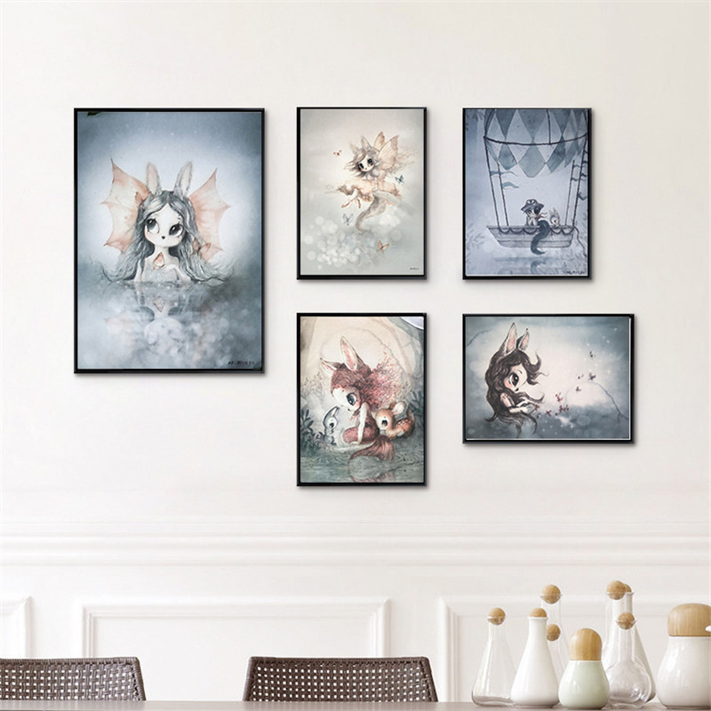 Big Deal  Living Room Home Decor Poster Print Nordic Canvas Painting Girl Bedoom Wall Picture Deer Rabbit Ang