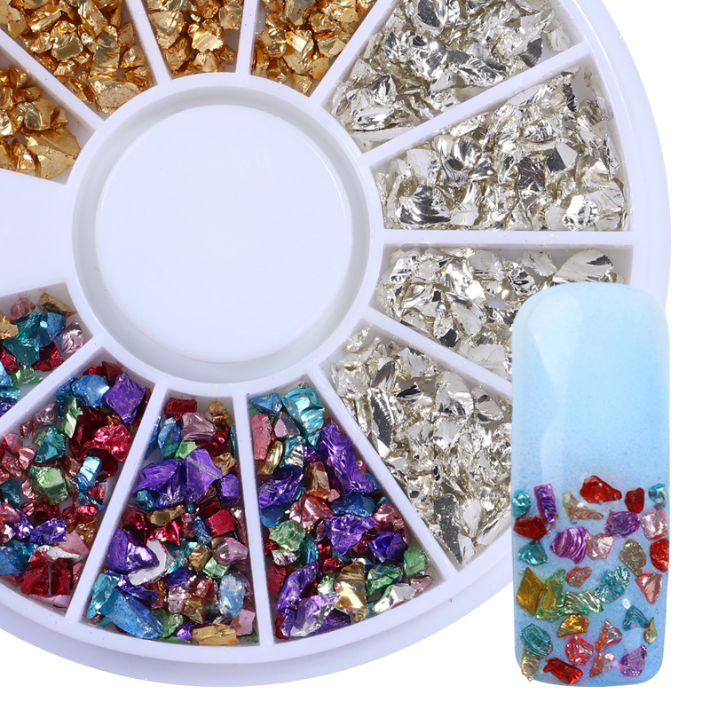 BORN PRETTY 1 Box Irregular Ore Nail Studs Gold Silver Rhinestone Muti-color Stone Manicure 3D Nail Art Decoration in Wheel rose gold silver black nail beads caviar studs multi size diy 3d nail art uv gel lacquer decoration in wheel manicure accessorie
