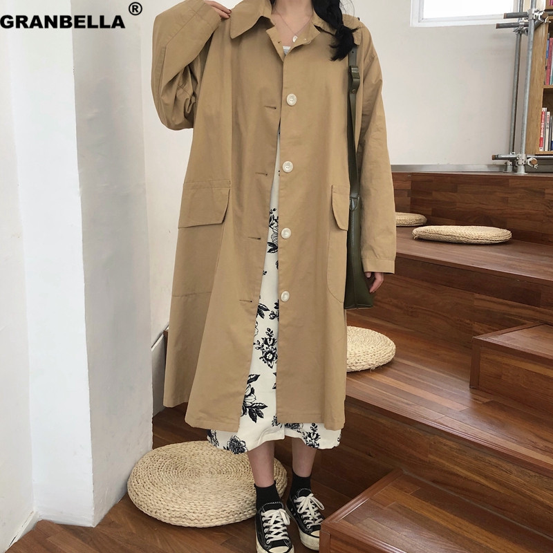 Female Streetwear Casual Long   Trench   Coat With Big Pocket Spring Summer Thin Women's Windbreaker Loose Plus Size
