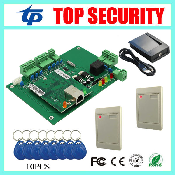 TCP/IP access control board one door two sides access control system with 2pcs card reader and 1 USB card reader free software biometric fingerprint access controller tcp ip fingerprint door access control reader