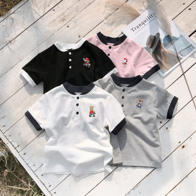 T-Shirt Short-Sleeve School-Clothes Puppy-Print Infantis Summer NEW Lapel Costume Top-Tee