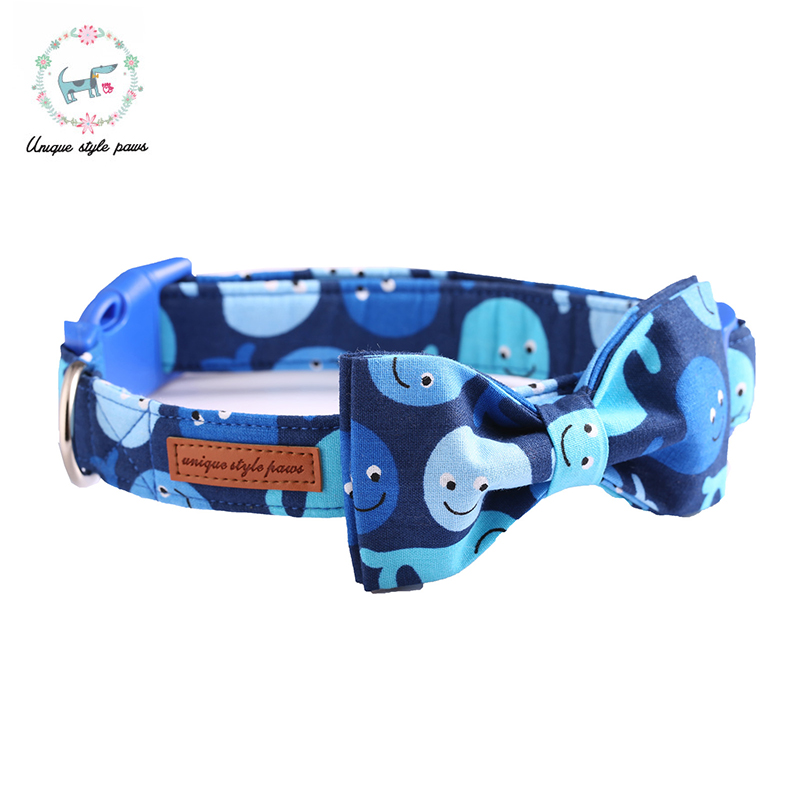 The Whale Blue Dog Collar with Bow Tie Plastic Buckle Dog&Cat Necklace Pet Products Personalized Dog Collar and Leash Sets