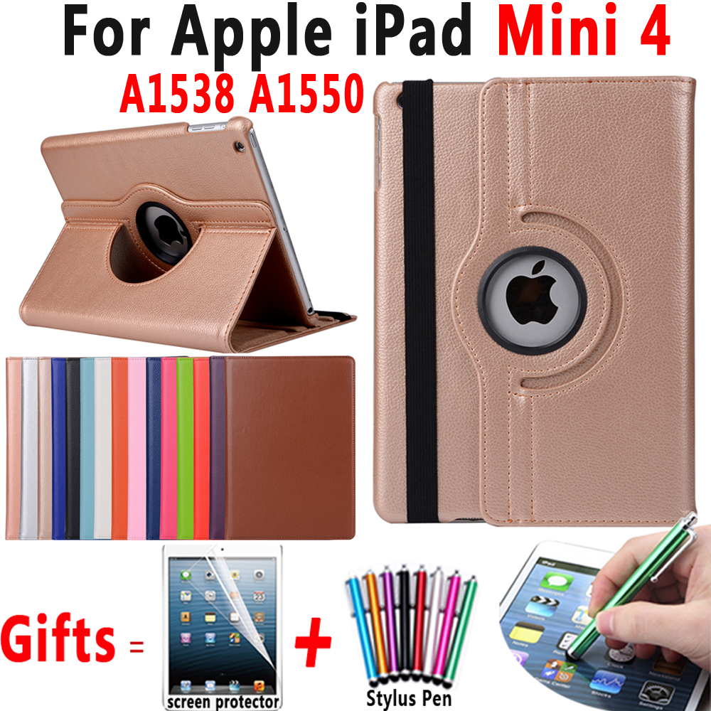 360 Degree Rotating Lichi Leather Flip Smart Shell Cover Case for Apple iPad mini 4 mini4 7.9 inch A1538 A1550 Coque Capa Funda