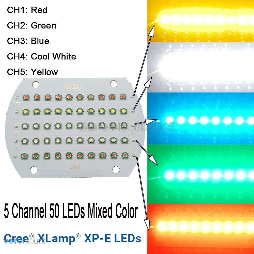 Cree XPE XP-E 50LEDs 5 Channel High Power RGB LED Emitter Light Yellow White Green Red Blue Mixed Color DIY LED Light Copper PCB 9006 12w 650lm 4 led white light car foglight lamp w cree xp e silver red black dc 12 24v