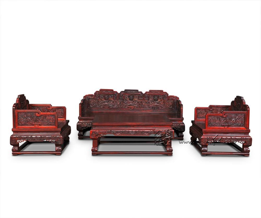 4 шт. диван-кровать 1+ 3 сиденья Бирма палисандр Диван домашний отель гостиная комната набор мебели грагон трон чайный стол люксы современный - Цвет: 6 pieces Sofa Set