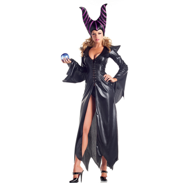 high-quality Maleficent costumes,Adlut sexy black halloween Costumes,female witch cosplay