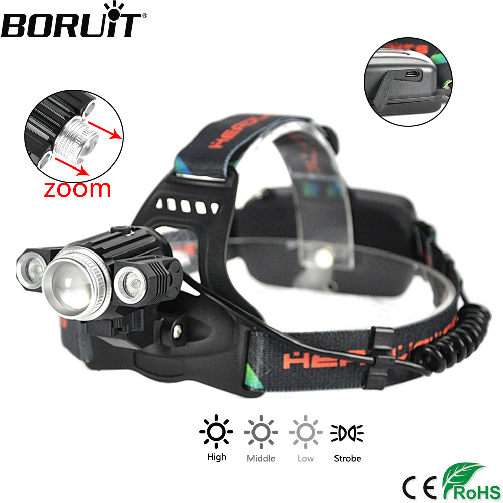 BORUiT XML-T6 XPE LED Headlight 4-Mode Zoomable Headlamp USB Charger Head Torch Hunting Camoing Lantern by 18650 Battery boruit rj 2190 xml t6 led headlamp 3mode zoom headlight rechargeable head torch camping hunting frontal lantern by 18650 battery