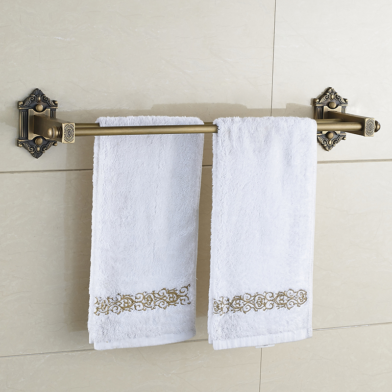 Antique Bathroom Towel Bars European Brass Double Towel Bar Bathroom Towel Rack Wall Mounted Bathroom Accessories aluminum wall mounted square antique brass bath towel rack active bathroom towel holder double towel shelf bathroom accessories