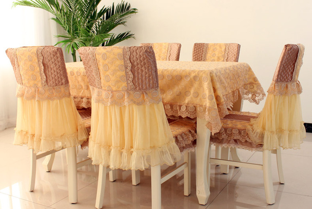 Round Square Rectangular Dining Table Tablecloth Bedside Embroidered Lace Coffee Cover Cloth Chair Pads