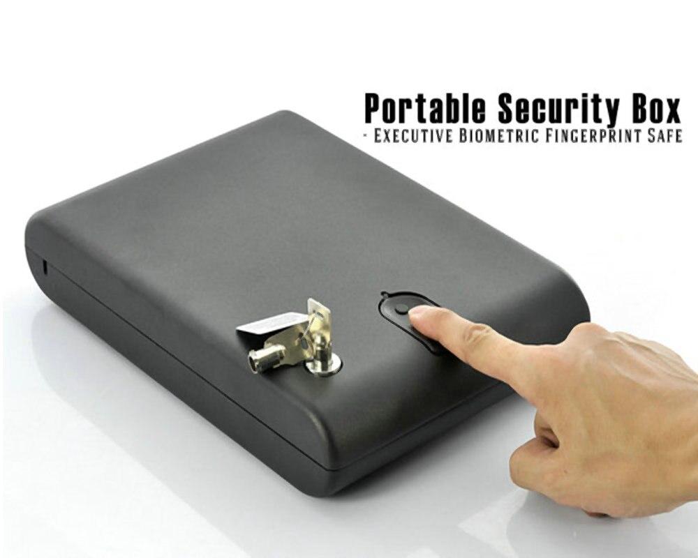 цены на Fingerprint Safe Box Solid Steel Security Key Gun Valuables Jewelry Box Protable Security Biometric Fingerprint Safes Strongbox