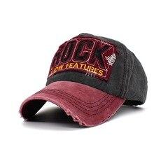 2019 Fashion Retro Baseball Cap Hole Casual Hat Spring Man Woman ROCK Letters Washed Cotton Vintage Trucker Bone hip hop hat