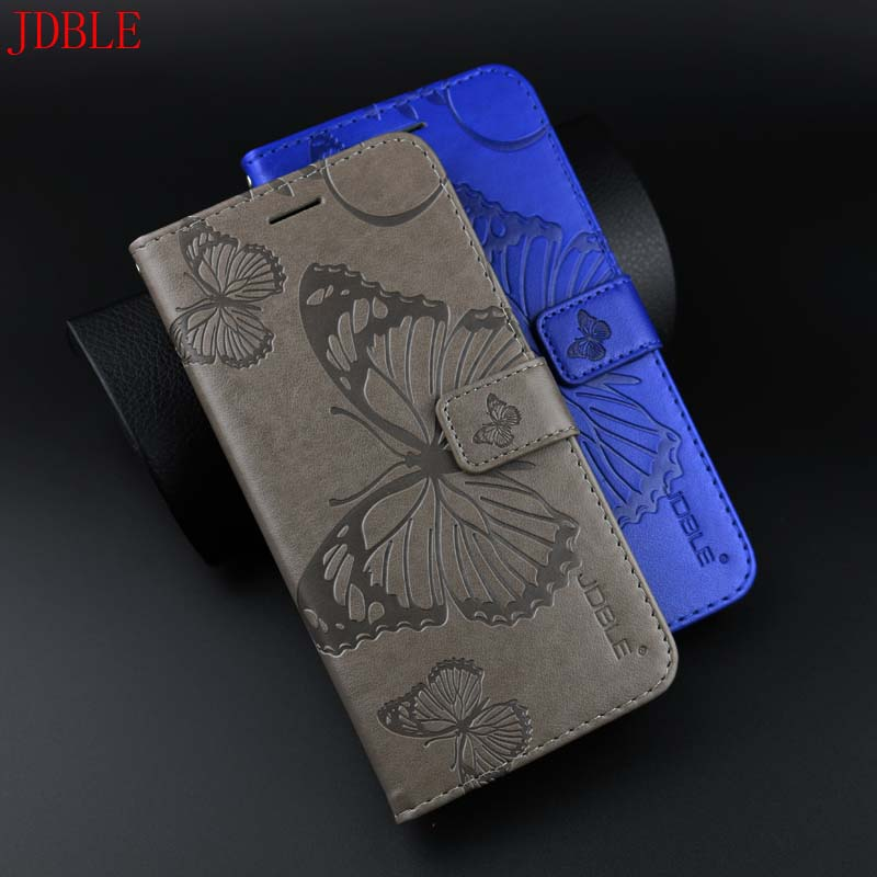 For iphone 7 8 Case Original JDBLE Brand Case +Tempered Glass 3D Butterfly Embossing Wallet Magnet Flip PU leather Stand KD0012