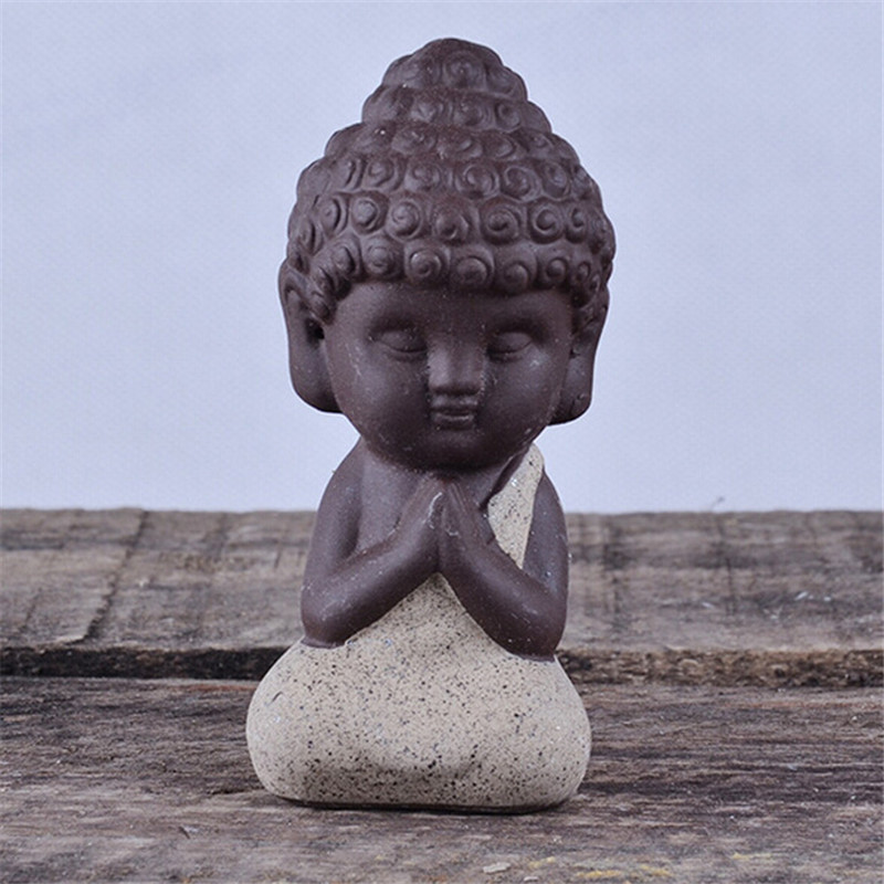 1Pcs Small Buddha Statue Monk Figurine India Mandala Tea -2592