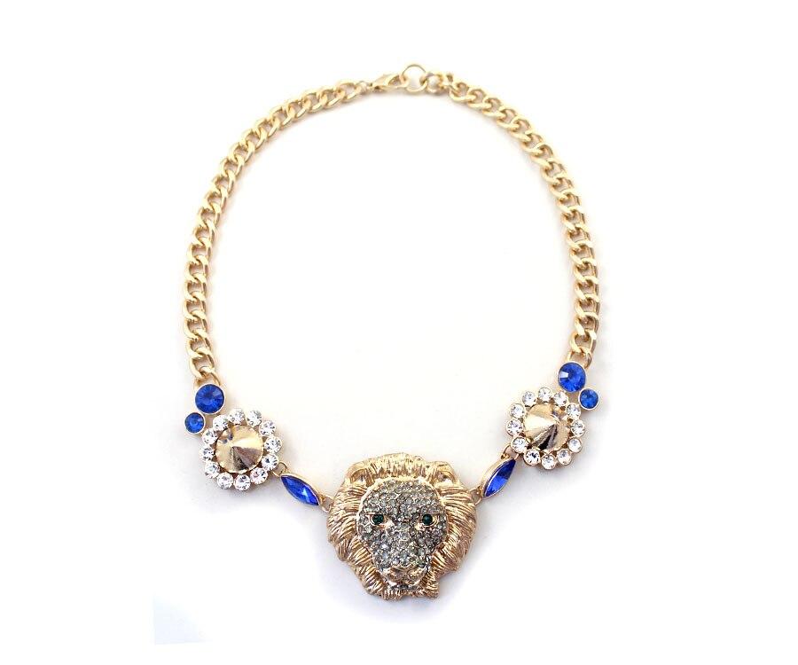 64f37bd80c82 Joyería de moda diseñador rhinestone personalizado en relieve cabeza de  león Collares y colgantes al por mayor
