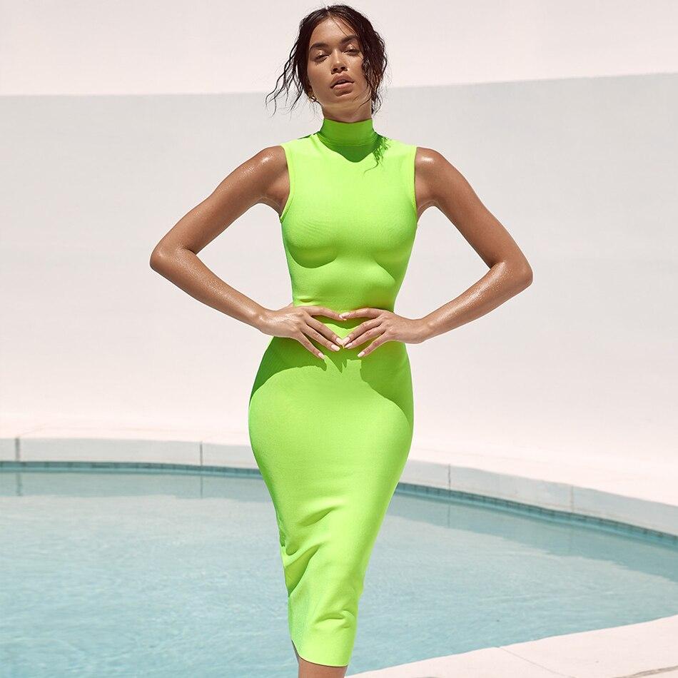 Date célébrité soirée soirée moulante Bandage robe femmes vert sans manches col roulé Sexy soirée Club robe femmes Vestidos