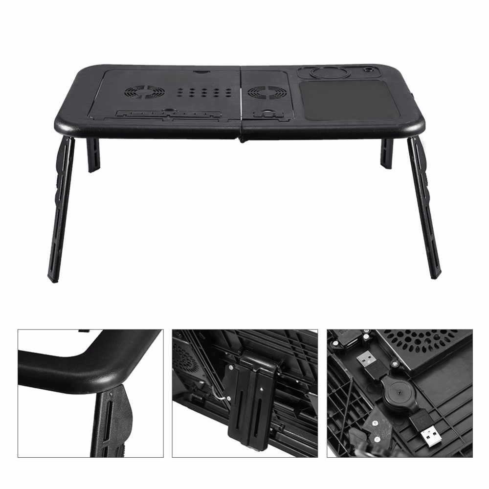 Adjustable Laptop Desk Foldable Table e-Table Bed with USB Cooling Fans Stand