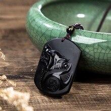 Обсидиан резные Волчья Голова тотемная подвеска цепочки и ожерелья Рок для мужчин талисманы богатых символ ювелирные изделия