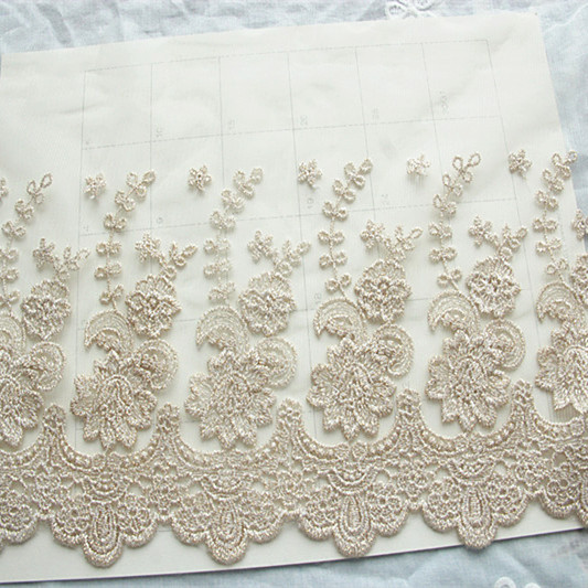 Lace Trimming Gold Wire Embroidery Lace Fabric, DIY Clothing Accessories  Dress Edging Material 5 Yards