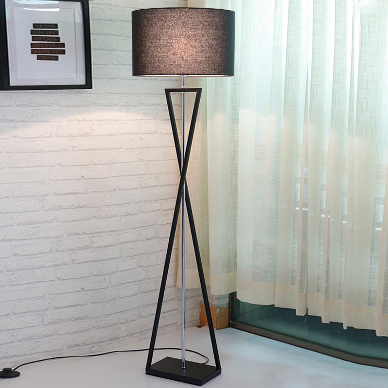 US $186.52 12% OFF|Post modern Floor Lamp table lamp Living Room Bedroom  Study Floor Standing Lamp black White Fabric wooden floor light  Decoration-in ...