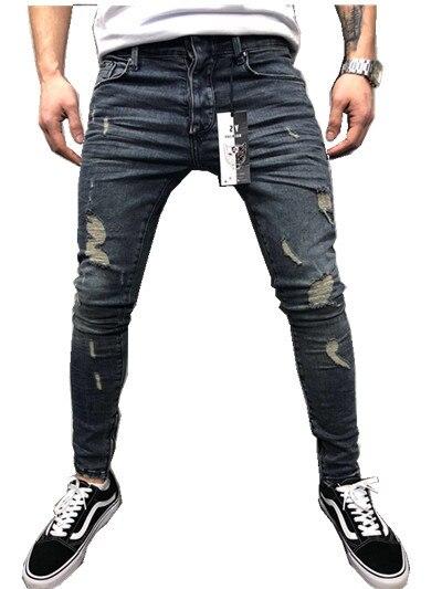 2019 homens New Stretchy Skinny Jeans Rasgado Calças Jeans Destruído Biker Mens Casual Cintura Elástica Calças Lápis Plus Size