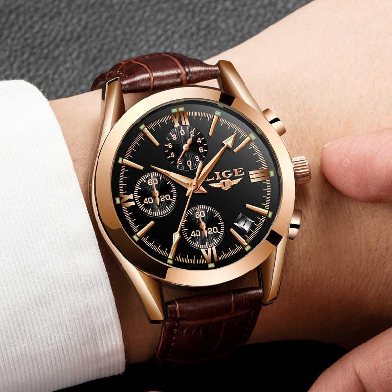 2020 LIGE 시계 남성 스포츠 쿼츠 패션 가죽 시계 남성 시계 브랜드 럭셔리 럭셔리 방수 비즈니스 시계 Relogio Masculino