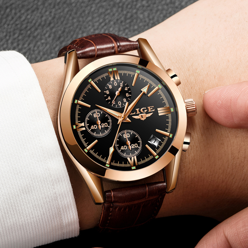2020 LIGE Watch Men Sport Quartz Fashion Leather Clock Mens Watches Top Brand Luxury Waterproof Business Watch Relogio Masculino